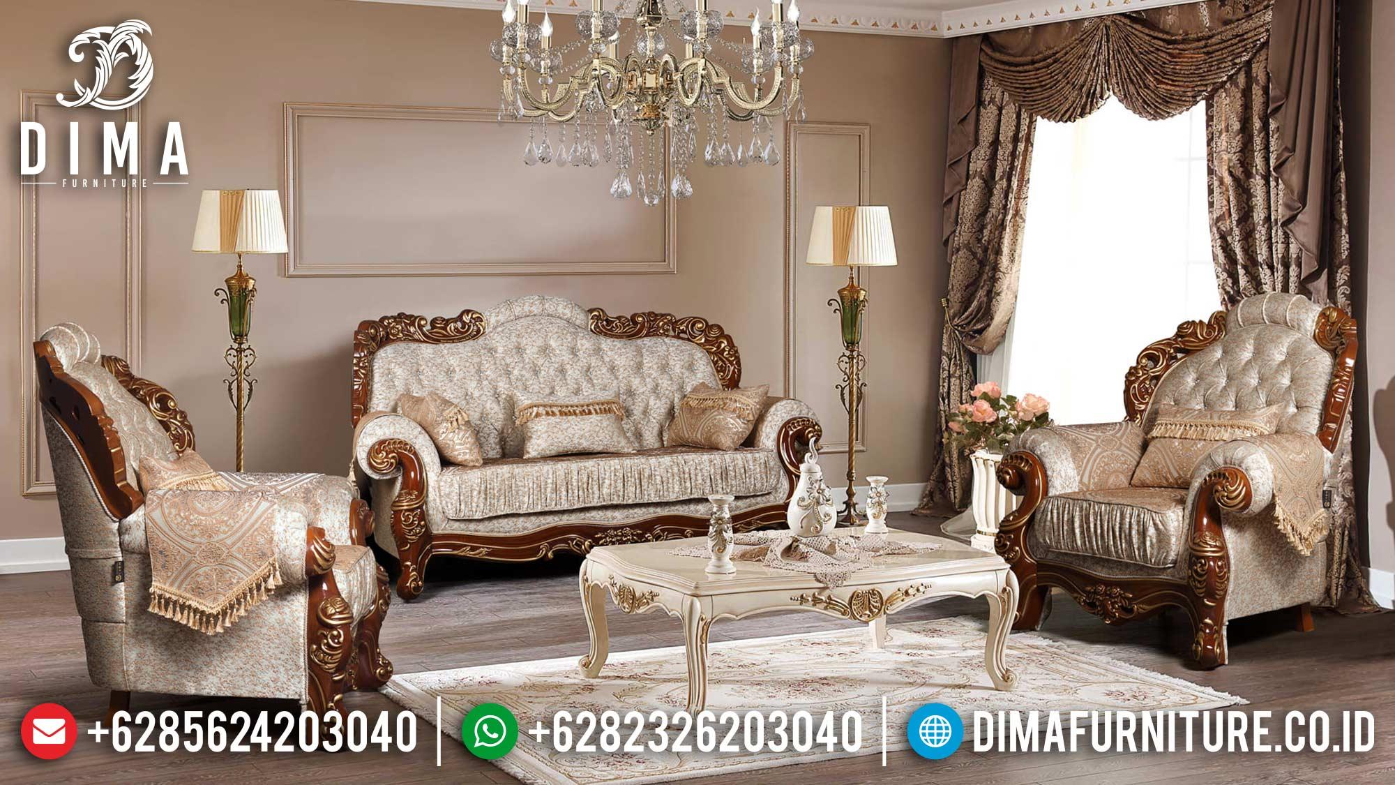 Harga Sofa Tamu Mewah Jepara Berukir Klasik Natural Gold Luxury DF-1501