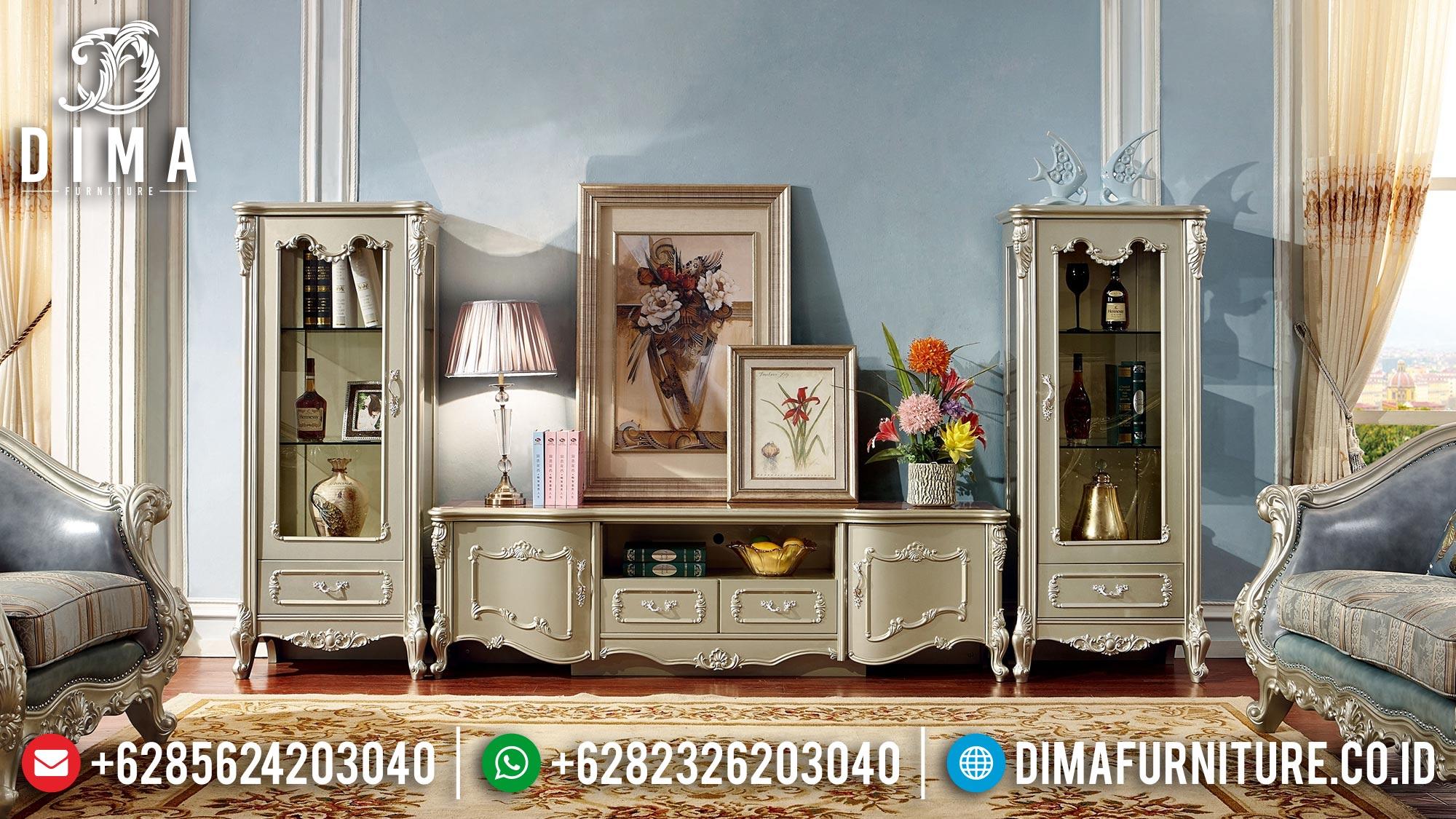 Jual Model Bufet TV Mewah Jepara Ukir Duco Champagne DF-1516