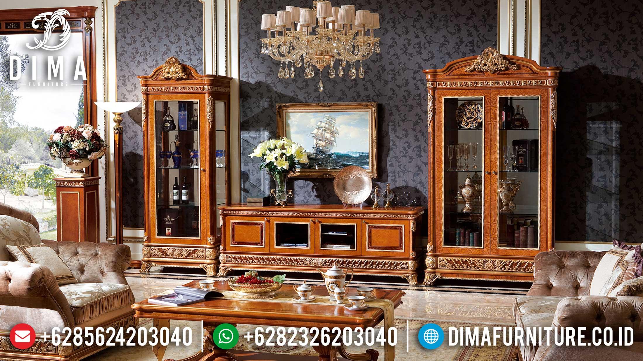 Model Bufet TV Jepara Terbaru Natural Gold Klasik DF-1515