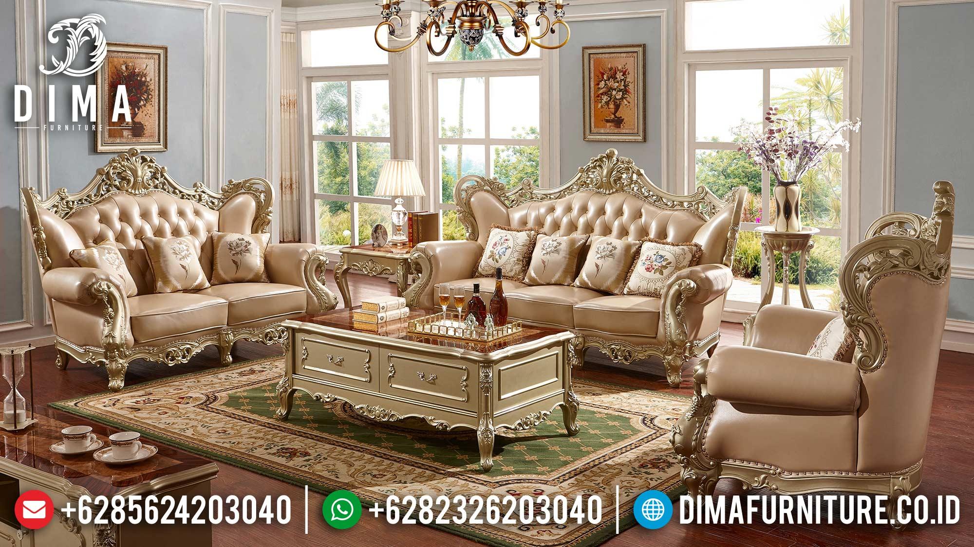 Model Sofa Mewah Terbaru Set Ruang Tamu Gold Classic Jepara DF-1499