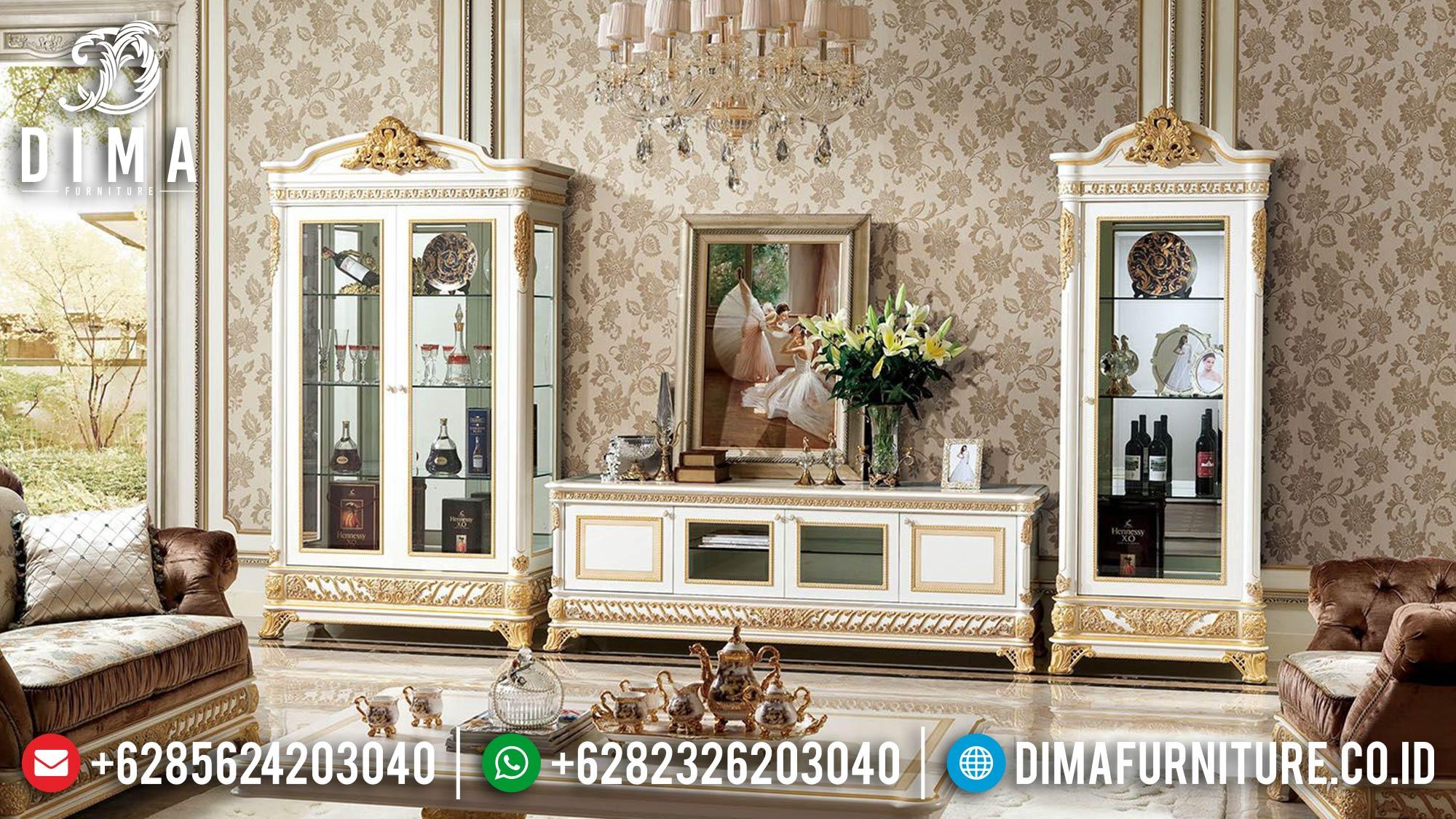 Set Bufet TV Mewah Jepara Terbaru Putih Gold Duco DF-1514