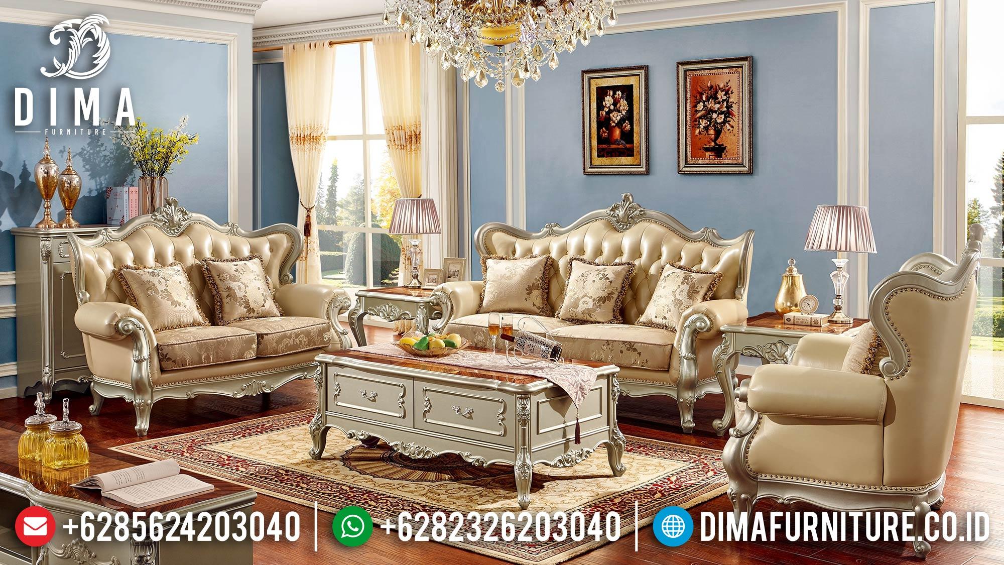 Jual 1 Set Sofa Tamu Mewah Jepara Classic Gold Silver DF-1520