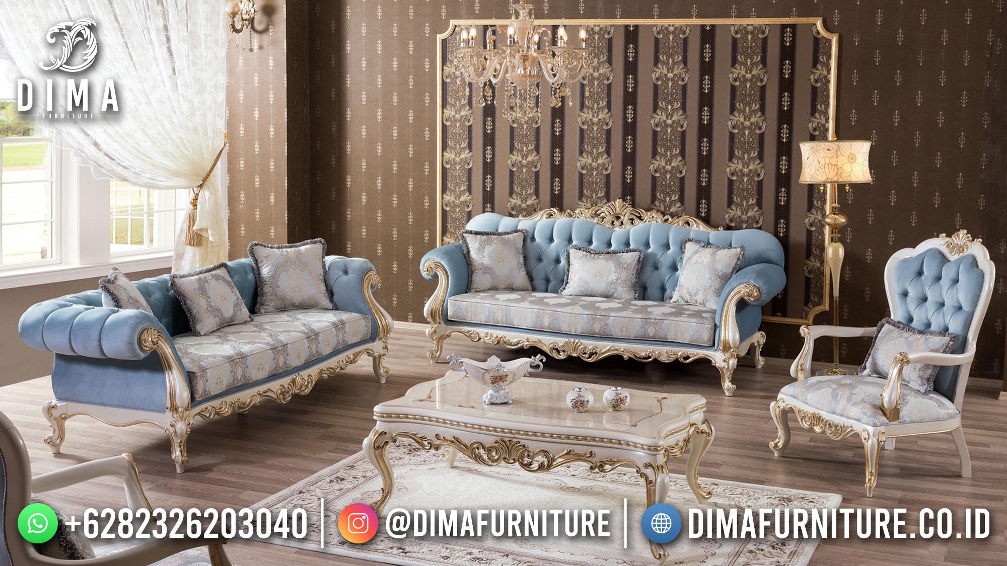 Set Sofa Tamu Jepara Mewah Klasik Putih Duco Golden Caramoy DF-1538