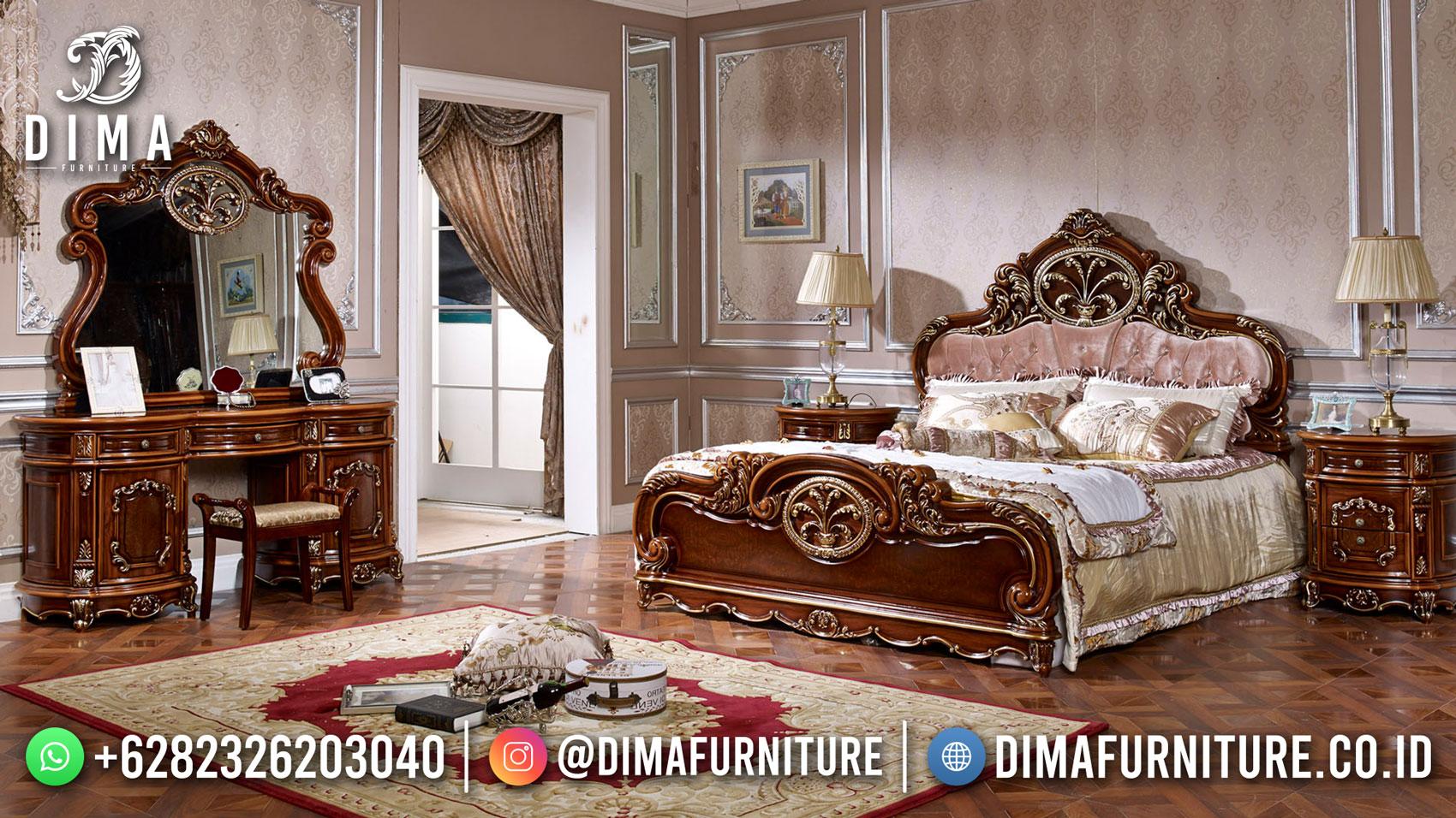 Discount Tempat Tidur Mewah Jati Natural Kombinasi Luxury DF-1562