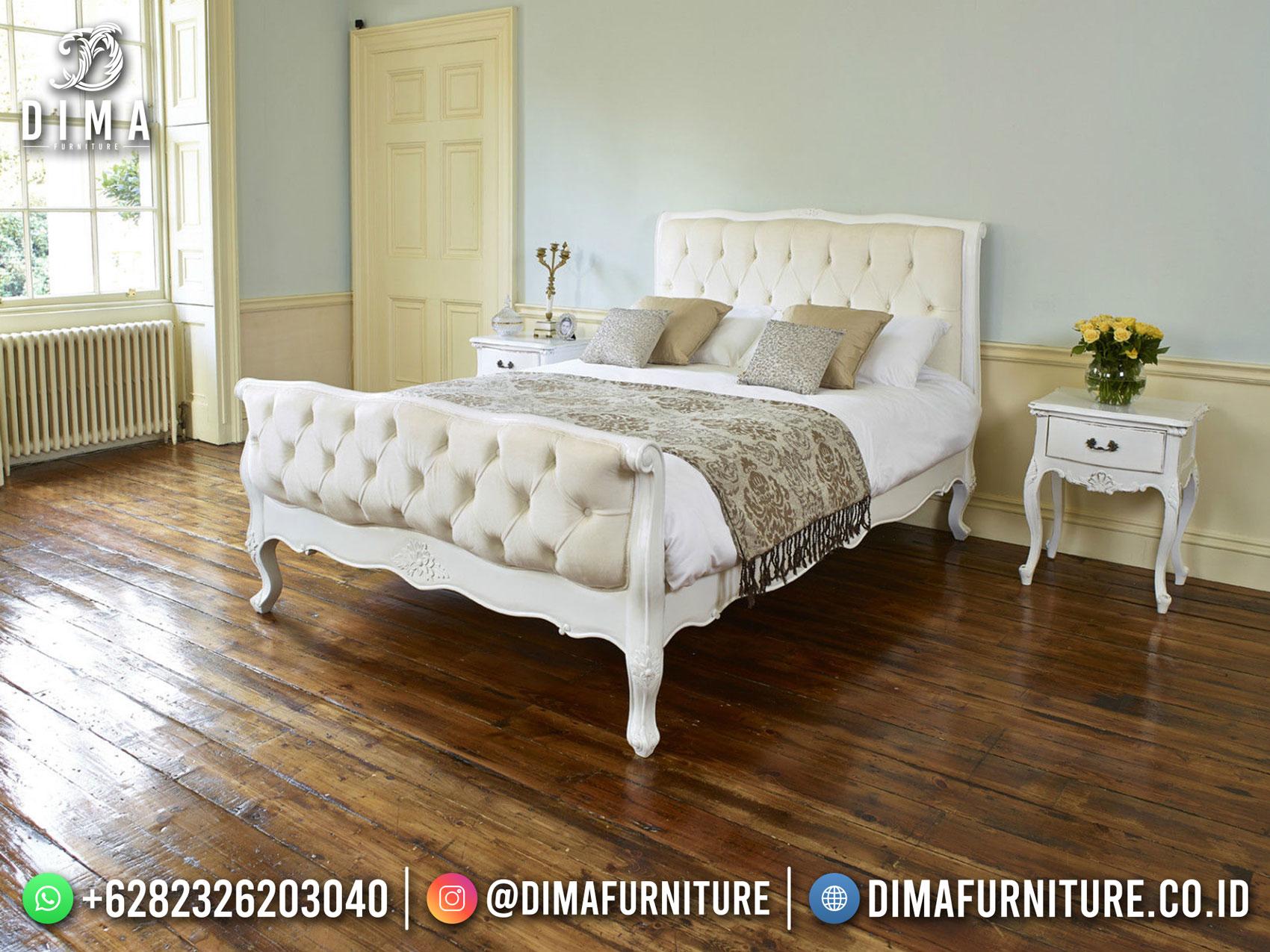 New Tempat Tidur Putih Mewah Simple Carving Luxury Style DF-1573