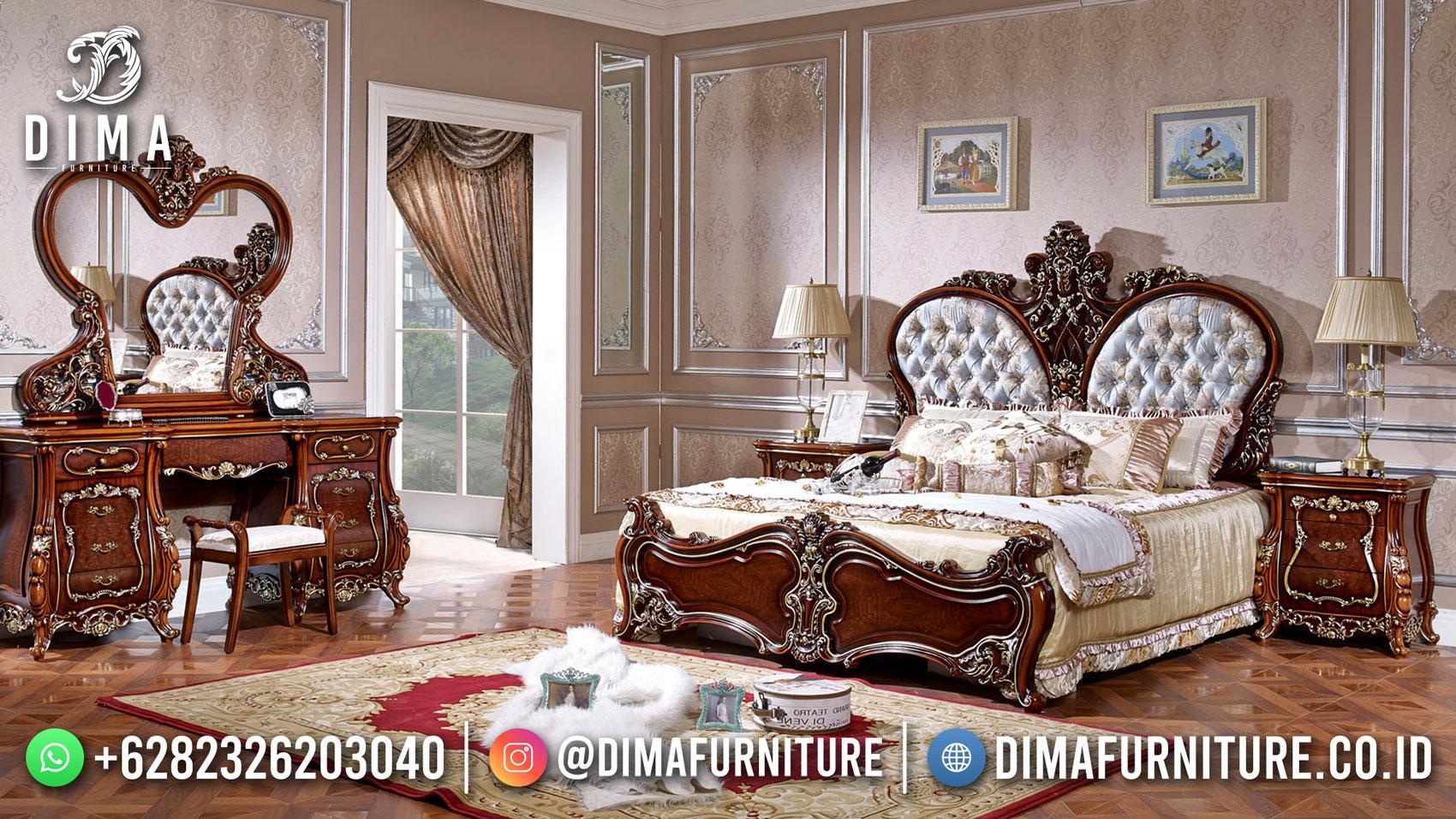 Tempat Tidur Mewah Jati Natural Klasik Desain Luxury DF-1559