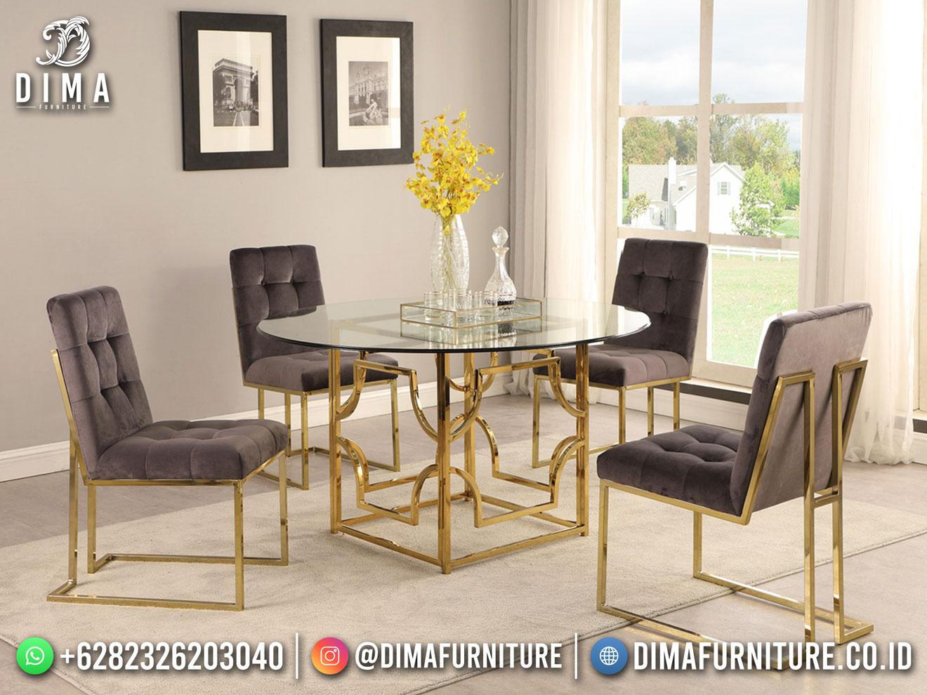 Beauty Gray Meja Makan Minimalis Industrial Furniture DF-1682