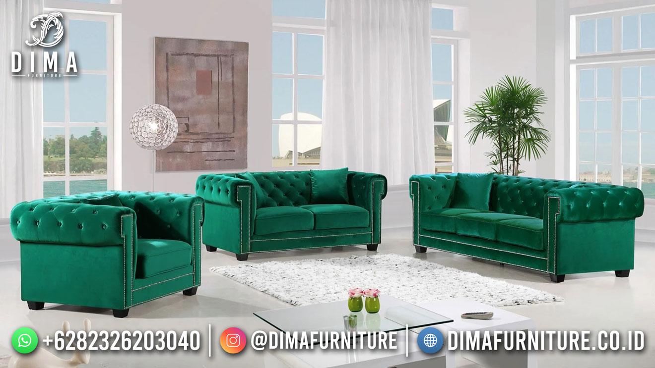 Beauty Sofa Tamu Minimalis Chesterfield Terbaru Green Luxury DF-1603