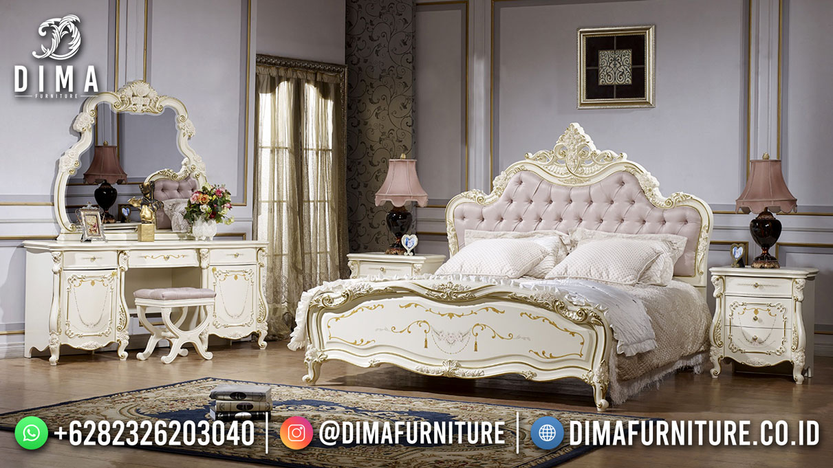 Cedric Tempat Tidur Mewah Ivory Gold Furniture Jepara DF-1696
