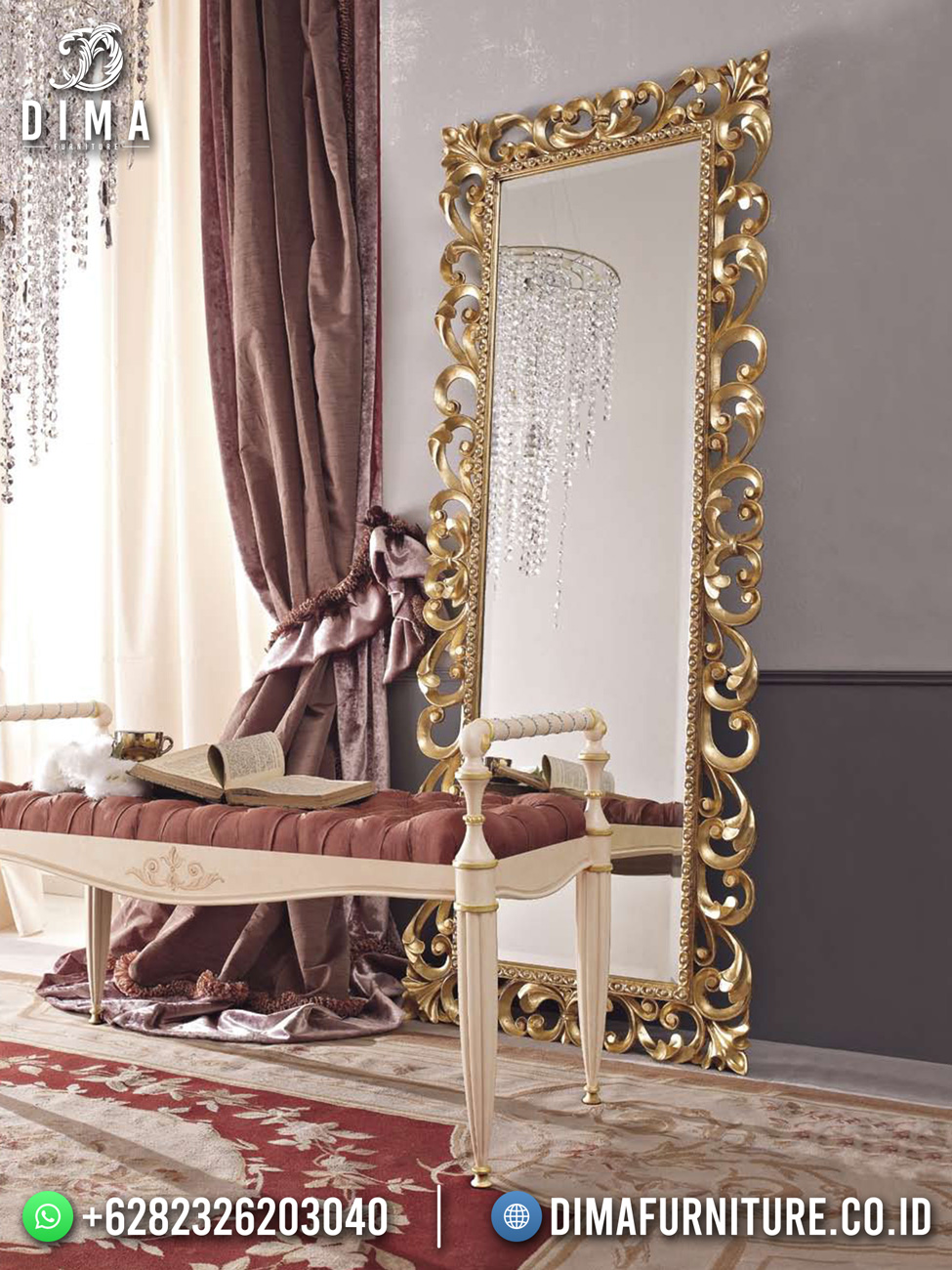 Golden Luxury Cermin Hias With Stool DF-1678