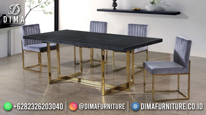 New Model Meja Makan Minimalis Jepara Gold Steel DF-1686