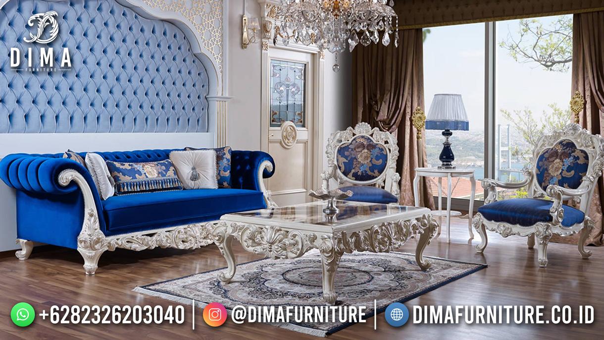 Popular Kursi Sofa Tamu Mewah Jepara Luxury Blue Sky DF-1624
