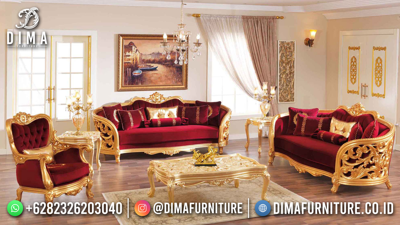 Sofa Tamu Mewah Luxury Carving Golden Red Df-1627