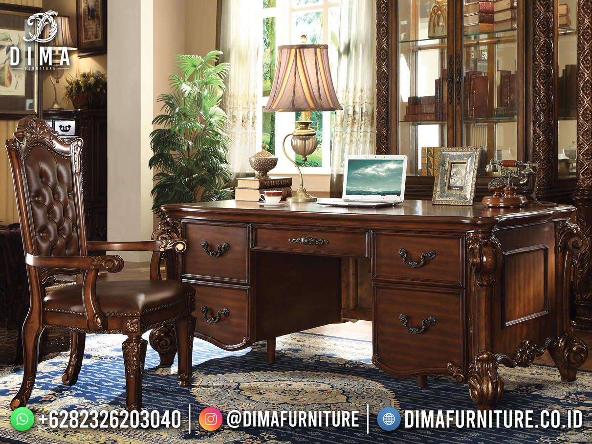 Best Quality Meja Kantor Terbaru Jati Natural Classic Furniture DF-1790