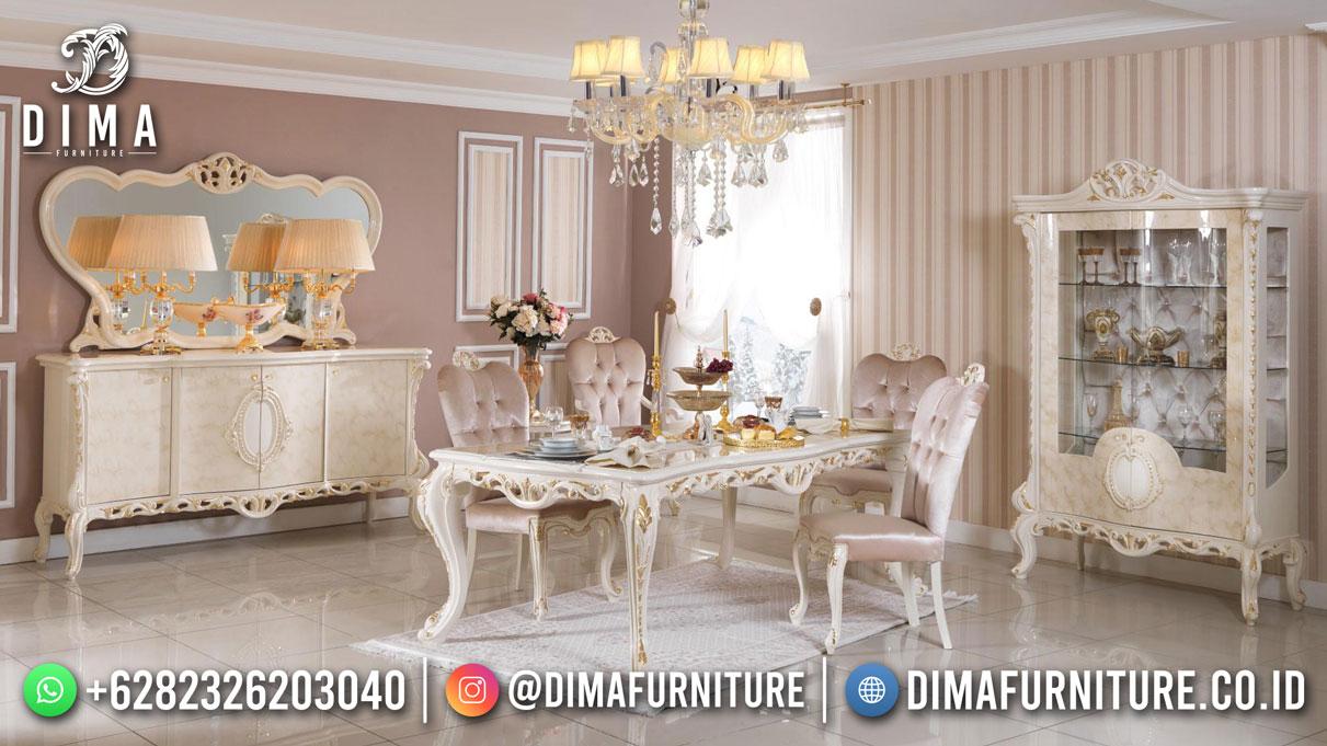 Best Quality Meja Makan Mewah White Duco Jepara Df-1743