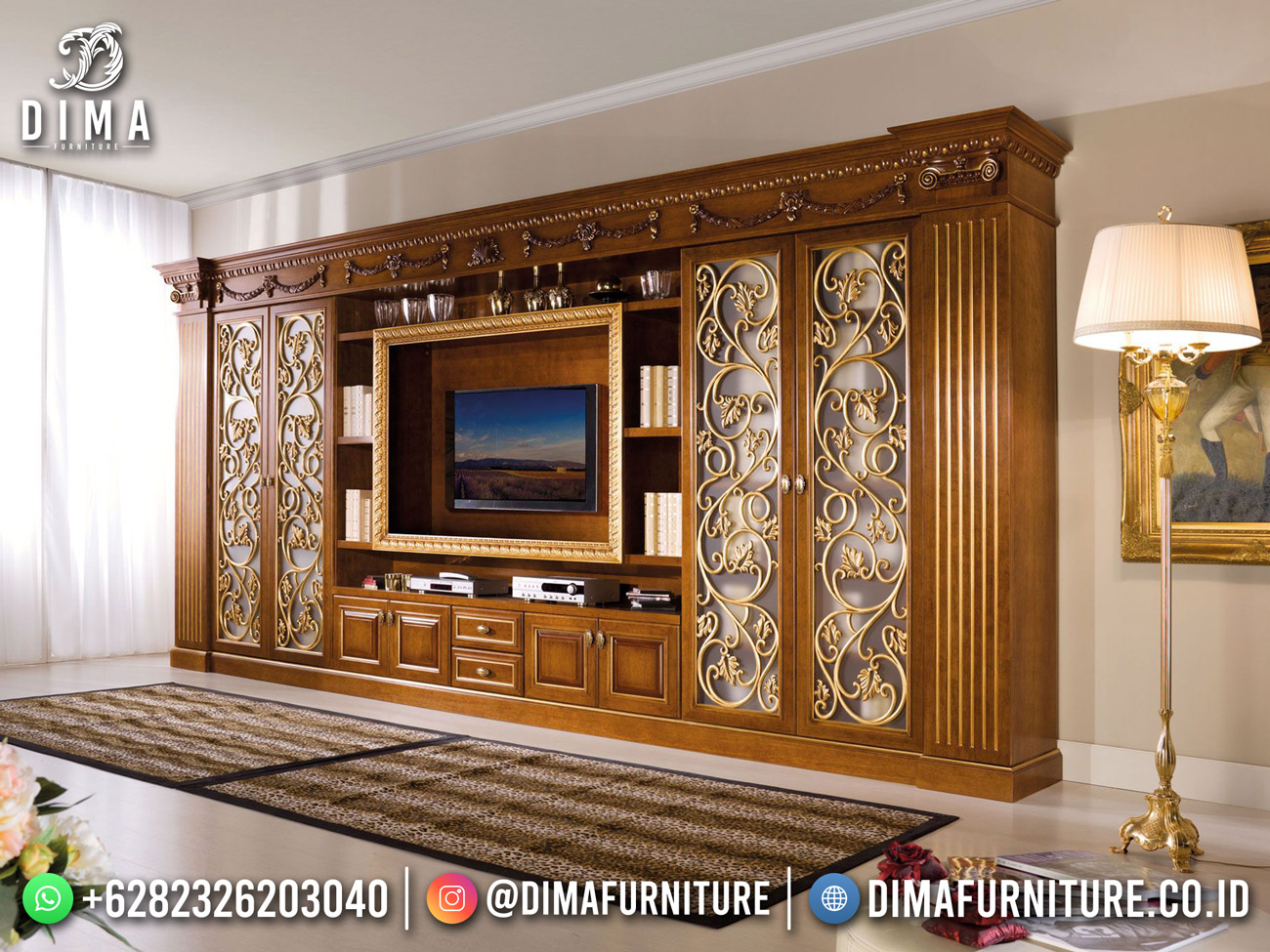 Desain Mewah Bufet TV Terbaru Kayu Jati Luxury Carving Detail DF-1767