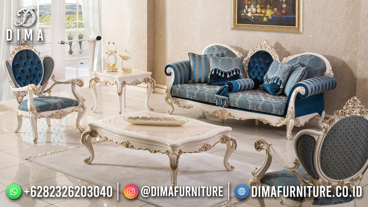 Desain Sofa Tamu Terbaru White Duco Classy Furniture Df-1840