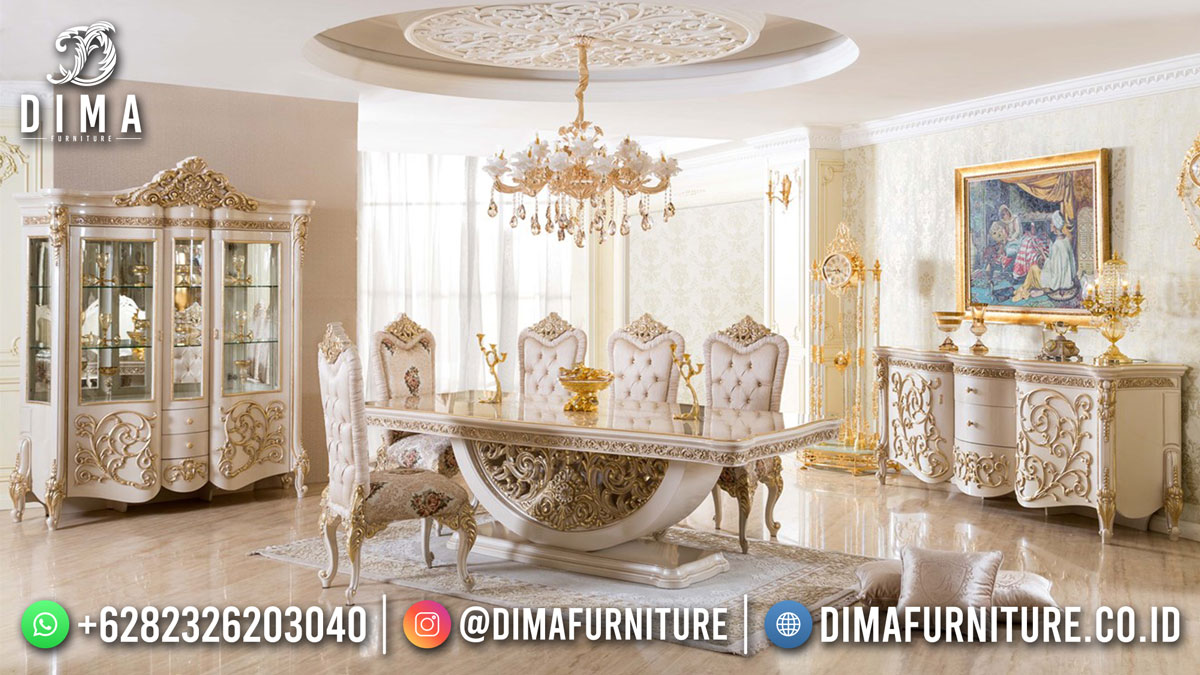 Glamorous Meja Makan Sultan Ukir Jepara Kualitas Terbaik DF-1735