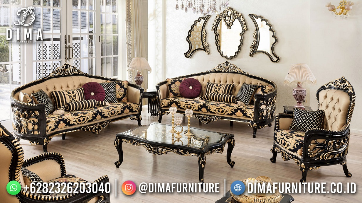 Kursi Tamu Terbaru Sofa Mewah Jepara Elegant Black Carving DF-1814