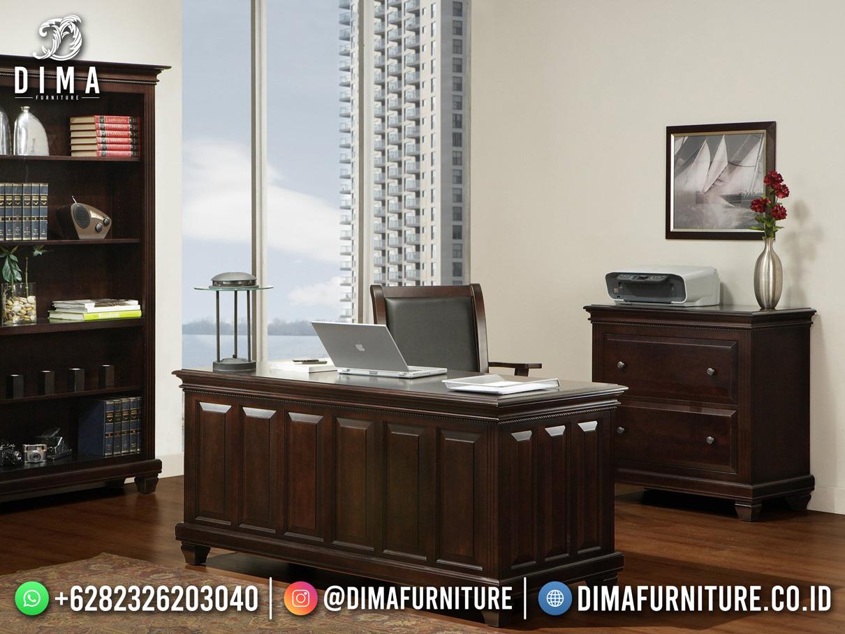 Set Meja Kantor Terbaru Jepara Elegant Classic Salak Brown DF-1792