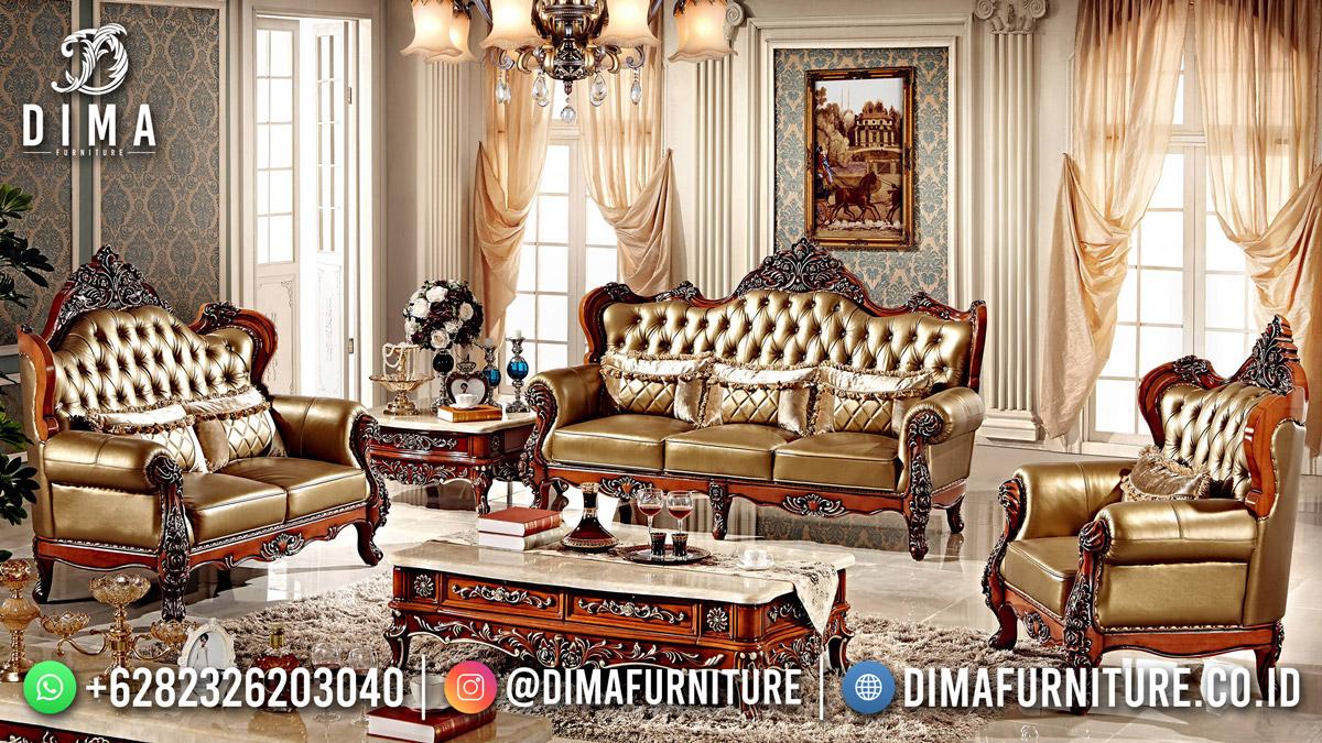 Sofa Tamu Terbaru Klasik Ukiran Jati Natural Kota Jepara DF-1841