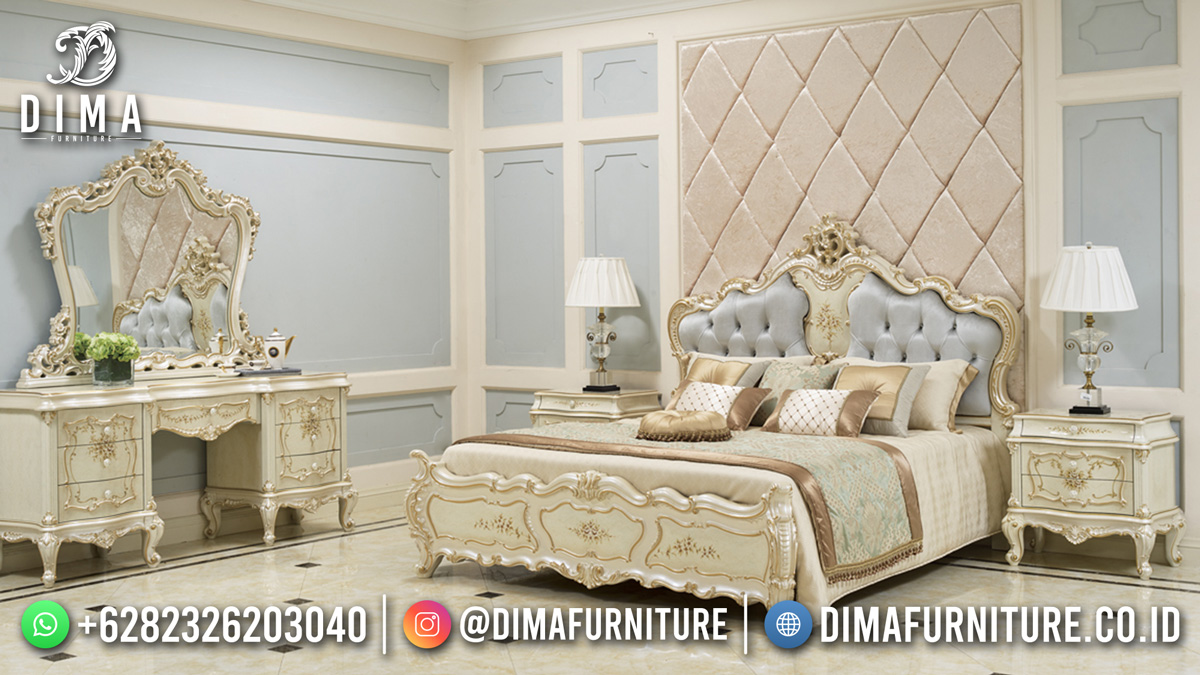 Tempat Tidur Mewah White Duco Beauty Shabby Furniture DF-1806
