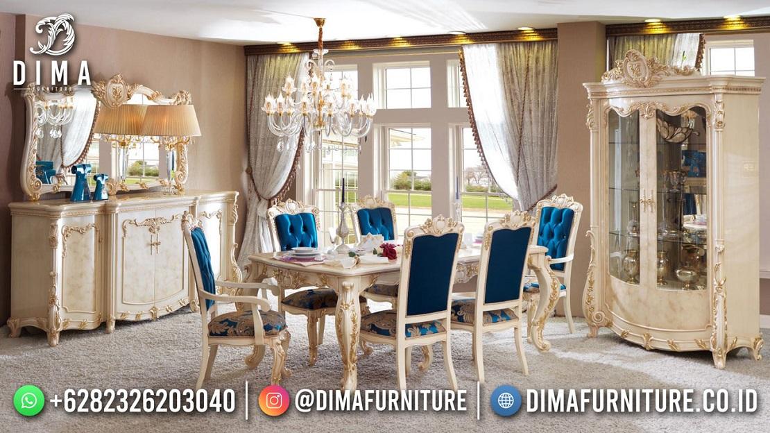 Beauty Desain Meja Makan Mewah White Duco Electrik Blue DF-1852