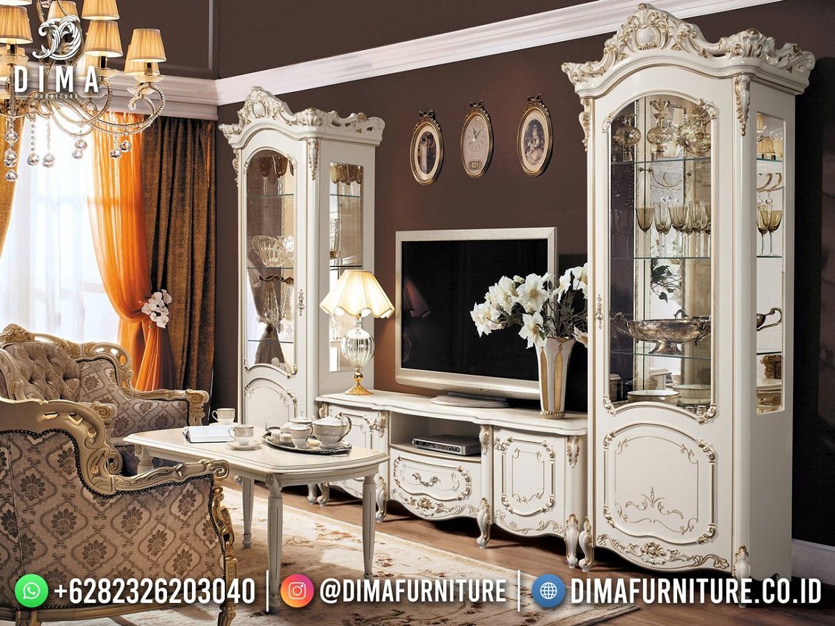 Desain Bufet TV Mewah Jepara Luxury White Duco Art Color Glossy DF-1875