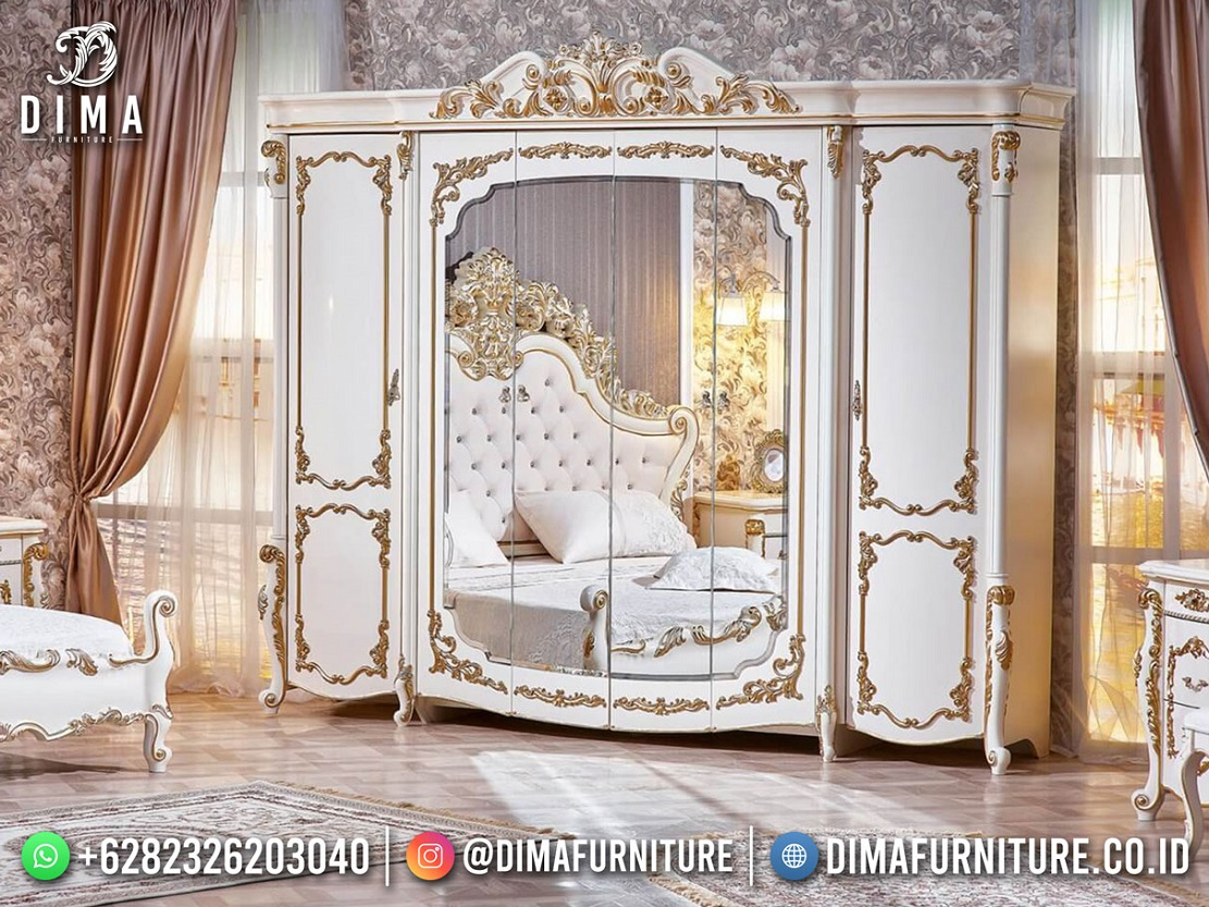 Desain Lemari Pakain Mewah Jepara Kayu Pehutani Luxury Classic Royal DF-1869