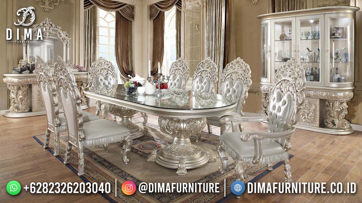 Grey Shinning Set Meja Makan 8 Kursi Luxury Carving Furniture Jepara DF-1914
