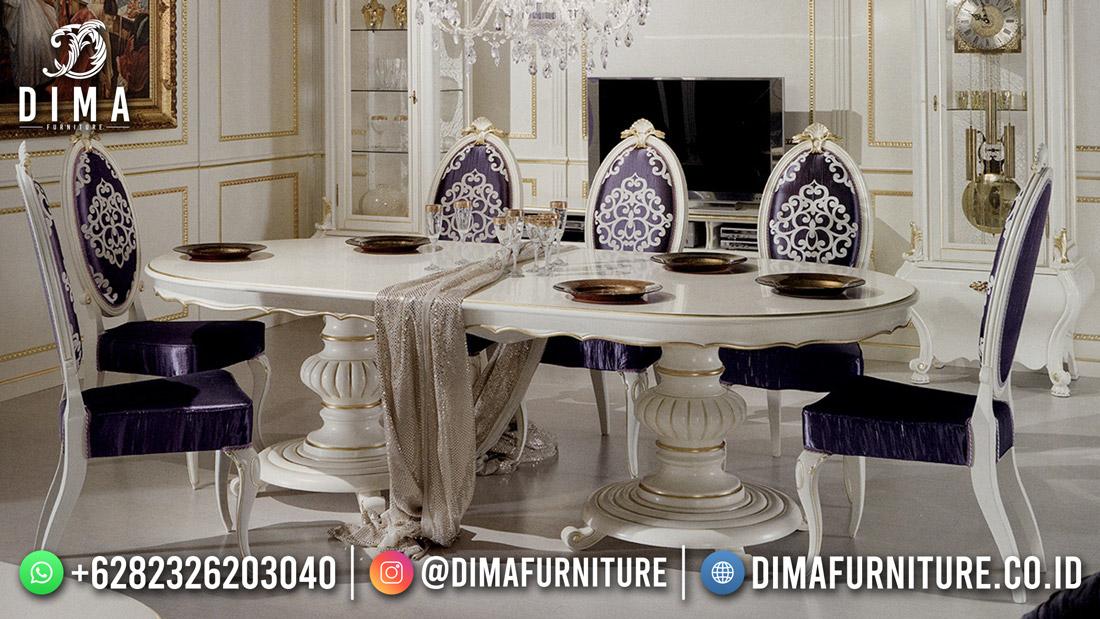 Luxury Glossy Meja Makan 6 Kursi Mewah White Duco White Gold Combine DF-1881