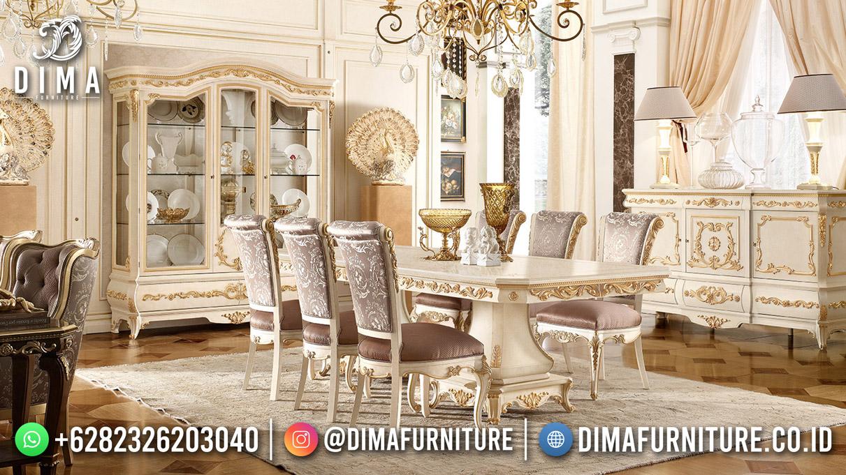 Terbaru Set Meja Makan Mewah Duco White Gold Combine High Quality DF-1884