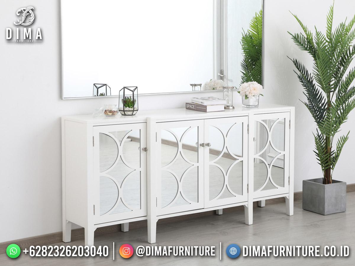 Furniture Jepara Meja Konsul Murah Kombinasi Kaca Beauty White DF-1967